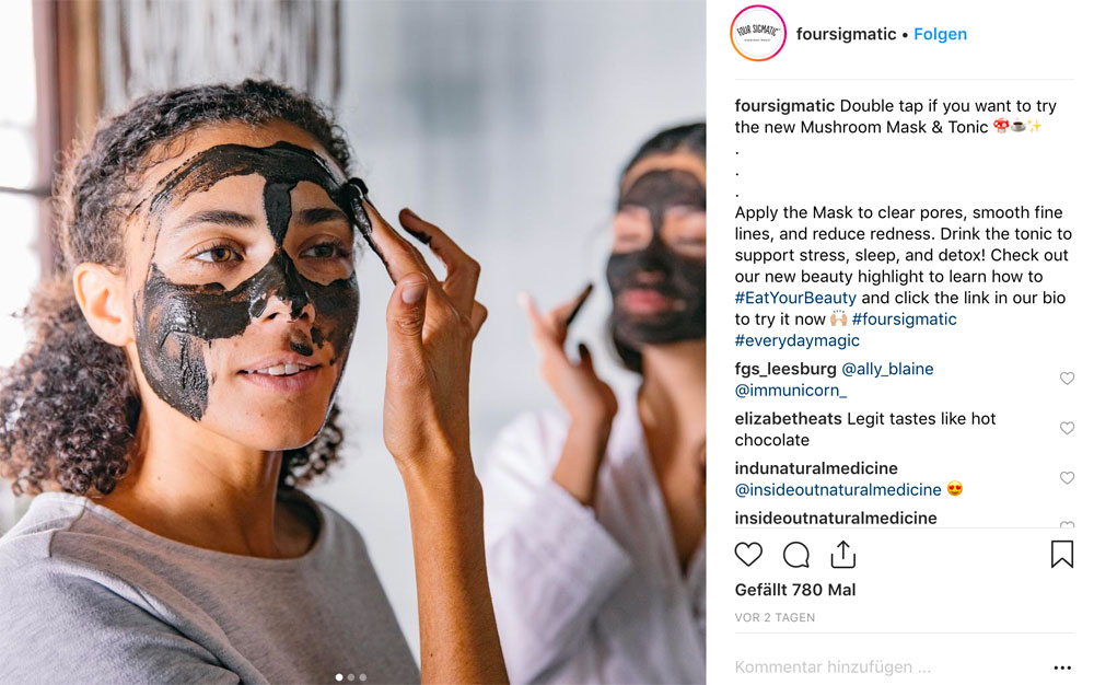 Beauty-Food, und zwar richtig: Von Four Sigmatic gibt es zwei Gesichtspflegeprodukte, die man essen oder auftragen kann.